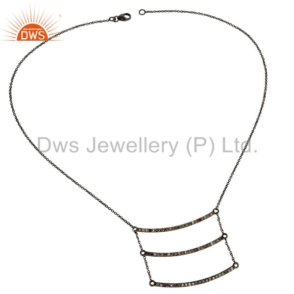 Suppliers Black Oxidized Celebrity Style Sterling Silver Diamond Chain Pendant Necklace