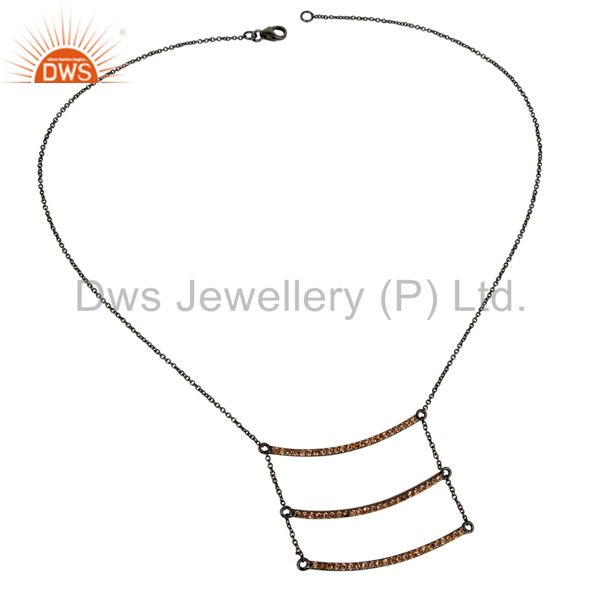 Suppliers Black Oxidized Celebrity Style Sterling Silver Spessartit Chain Pendant Necklace