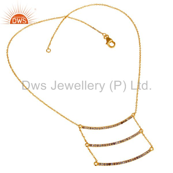 Suppliers 18K Gold Plated Sterling Silver Celebrity Style Tanzenite Chain Pendant Necklace