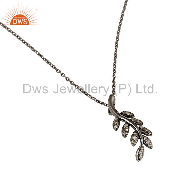 Suppliers 925 Sterling Silver Handmade Oxidized Leaf Design Pave Diamond Pendant Jewelry