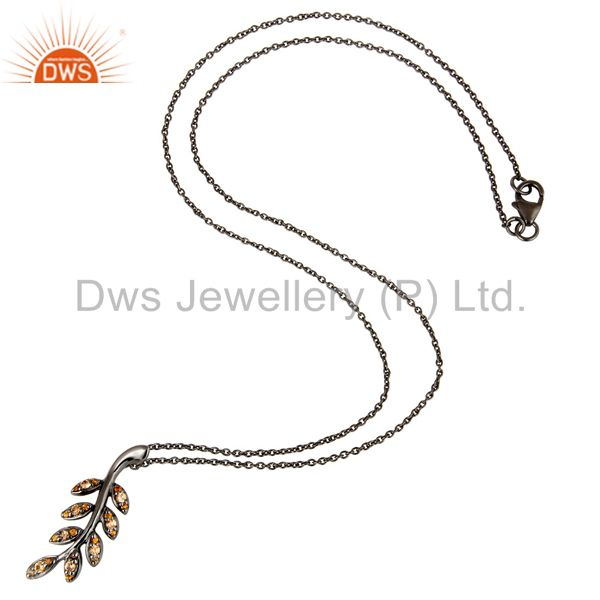 Suppliers Black Oxidized With Spessartite Leaf Design Sterling Silver Pendant Necklace