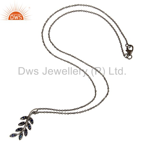 Suppliers Black Oxidized With Blue Sapphire Leaf Design Sterling Silver Pendant Necklace