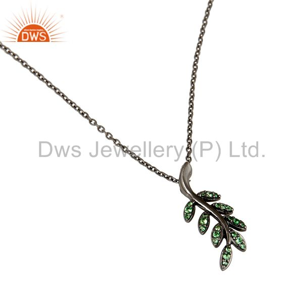 Suppliers 925 Sterling Silver Oxidized Leaf Design Tsavourite Chain Pendant Jewelry