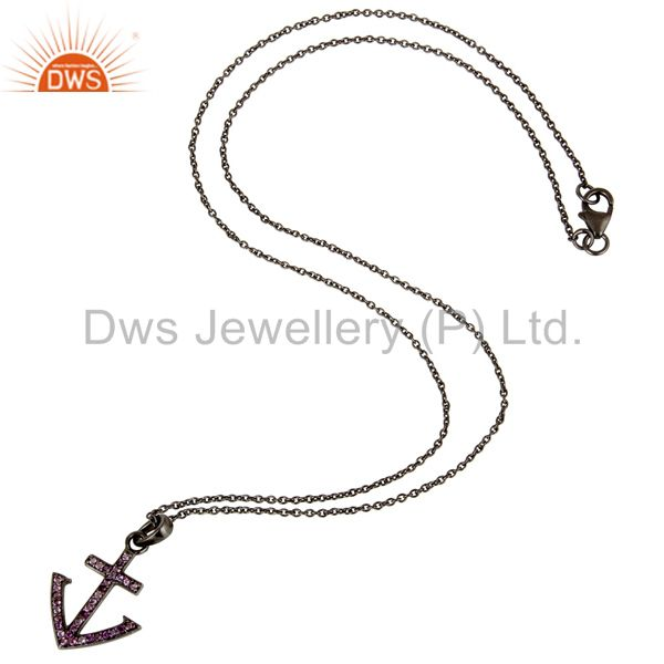 Suppliers Black Oxidized With Amethyst Christmas Design Sterling Silver Pendant Necklace