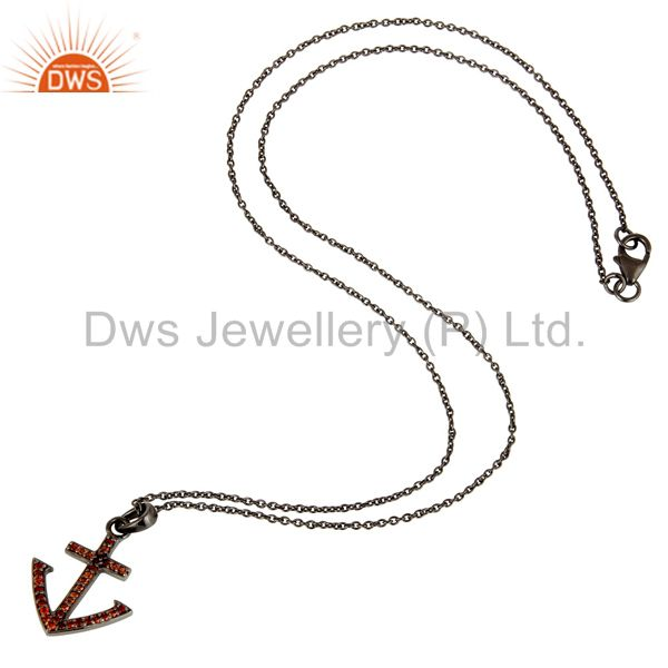 Suppliers Black Oxidized With Garnet Christmas Design Sterling Silver Pendant Necklace