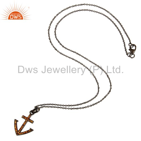 Suppliers Oxidized With Spessartite Christmas Design Sterling Silver Pendant Necklace