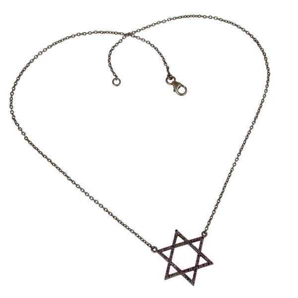 Suppliers Black Oxidized With Amethyst Star Design Sterling Silver Pendant Necklace