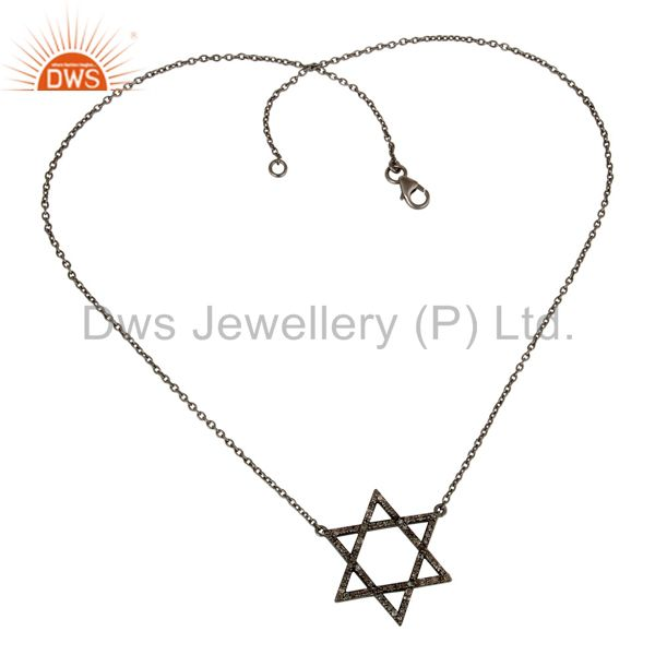 Suppliers Diamond Cut Star Design Oxidized Sterling Silver Chain Pendant Necklace