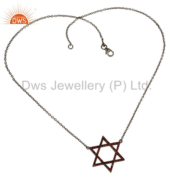 Suppliers Black Oxidized With Garnet Star Design Sterling Silver Pendant Necklace