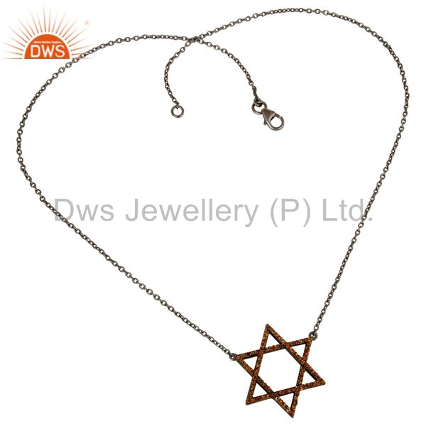 Suppliers Spessartite Cut Star Style Oxidized 925 Sterling Silver Chain Pendant Necklace