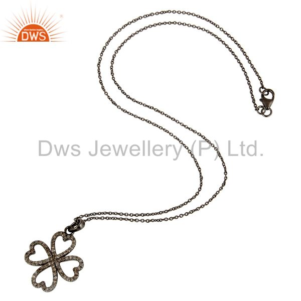 Suppliers Black Oxidized With Diamond Flower Design Sterling Silver Pendant Necklace
