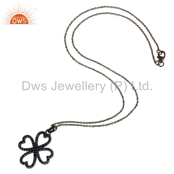 Suppliers Black Oxidized with Blue Sapphire Flower Design Sterling Silver Pendant Necklace