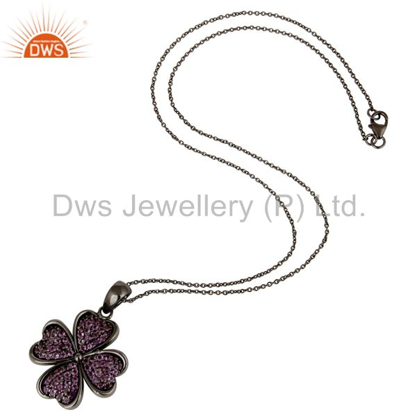Suppliers Amethyst Cut Flower Design With Oxidized Sterling Silver Chain Pendant Necklace