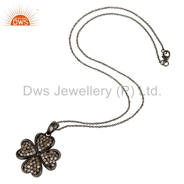 Suppliers Diamond Cut Flower Design With Black Oxidized Sterling Silver Pendant Necklace