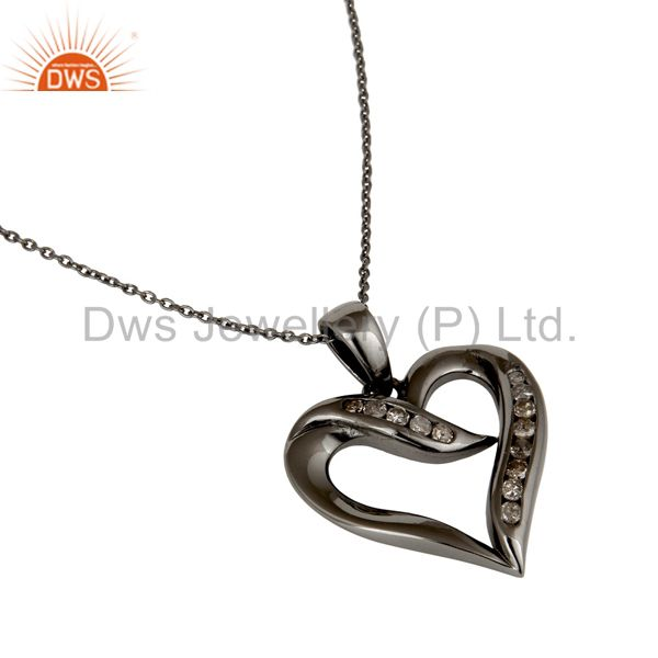 Suppliers Heart Design Sterling Silver Pendant Necklace With Black Oxidized and Diamond
