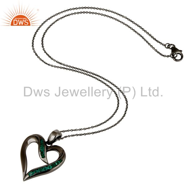 Suppliers Heart Design Sterling Silver Pendant Necklace With Black Oxidized and Emerald