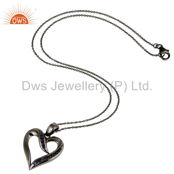 Suppliers Heart Design Sterling Silver Pendant Necklace With Oxidized and Blue Sapphire