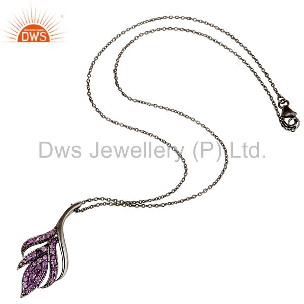 Suppliers Black Oxidized 925 Sterling Silver Round Cut Amethyst Chain Pendant Necklace