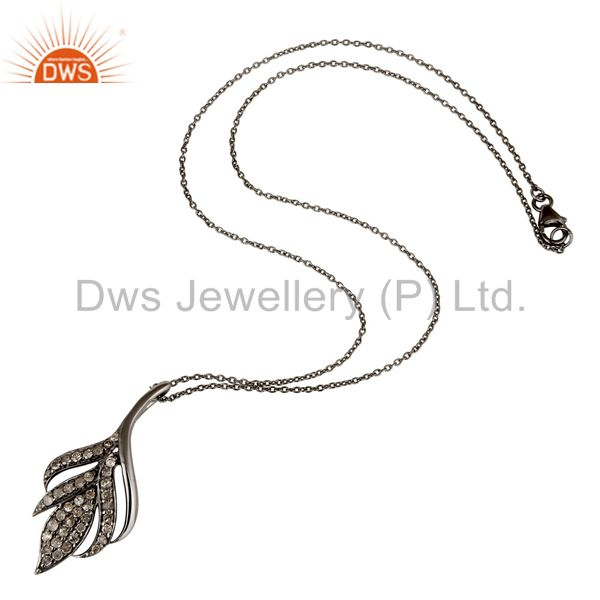 Suppliers Black Oxidized with Diamond Cut 925 Sterling Silver Pendant Necklace