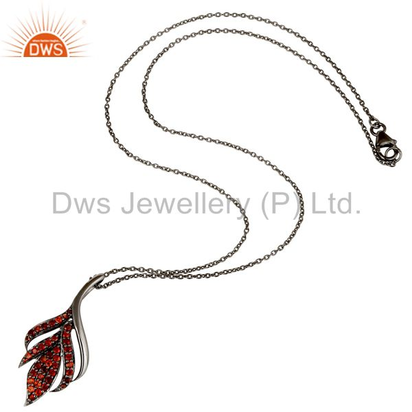 Suppliers Black Oxidized with Garnet 925 Sterling Silver Pendant Necklace