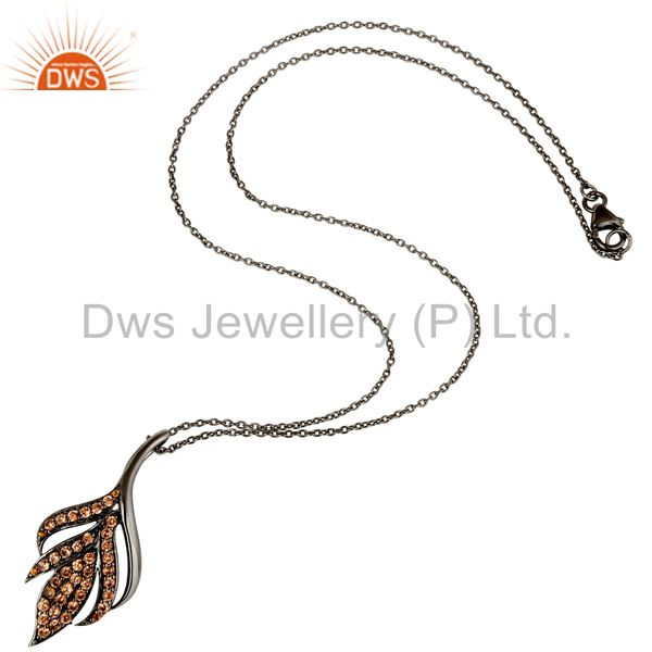 Suppliers Black Oxidized With Spessartite 925 Sterling Silver Chain Pendant Necklace