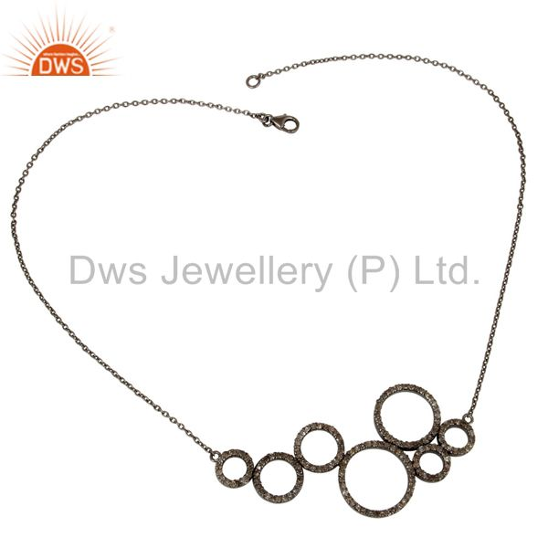 Suppliers Black Oxidized with Diamond 925 Sterling Silver Chain Pendant Necklace