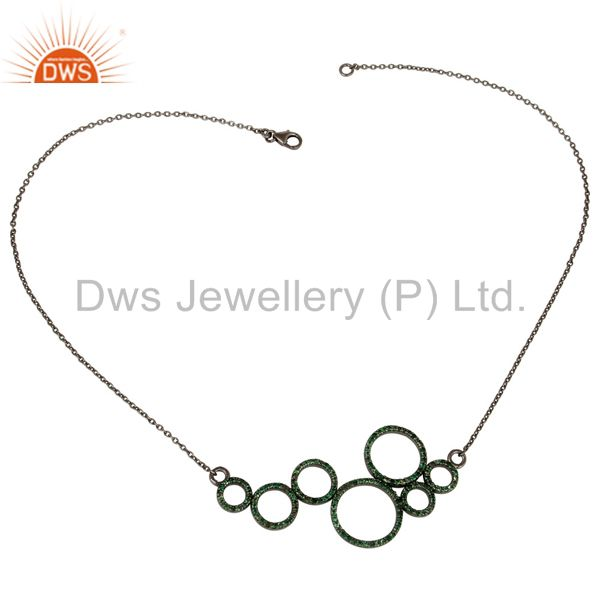Suppliers Black Oxidized with Tsavourite 925 Sterling Silver Pendant Necklace