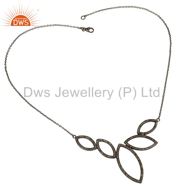 Suppliers Black Oxidized with Diamond 925 Sterling Silver Pendant Necklace