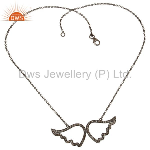 Suppliers Black Oxidized with Diamond Sterling Silver Pendant Necklace
