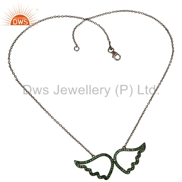 Suppliers Black Oxidized with Tsavourite 925 Sterling Silver Chain Pendant Necklace