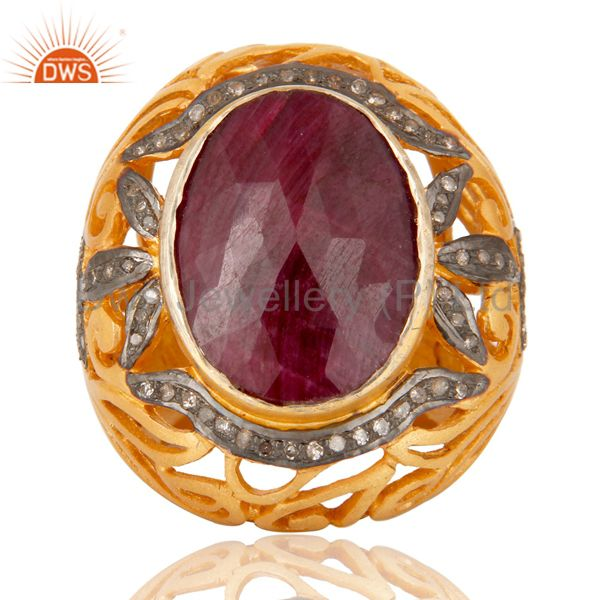 Suppliers 18K Yellow Gold Over Sterling Silver Pave Set Diamond and Ruby Ring Dome Ring