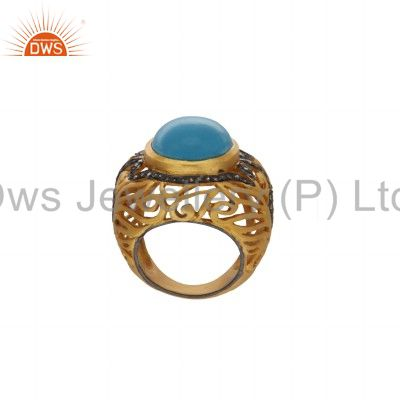 Suppliers 18K Yellow Gold Over Sterling Silver Pave Set Diamond Turquoise Ring
