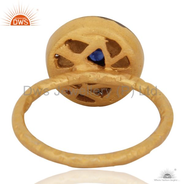 Suppliers Handcrafted Fine Gold Plated Silver Jewelry Real Diamond Sapphire Brithstone Rin