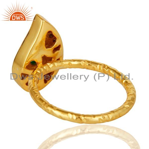 Suppliers 14K Yellow Gold Plated Sterling Silver Green Onyx Hammered Drop Ring With CZ