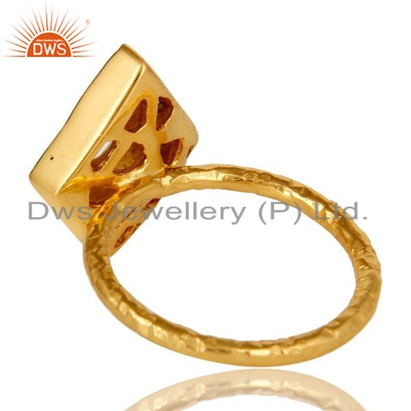 Suppliers 14K Yellow Gold Plated Sterling Silver Cubic Zirconia Hammered Statement Ring