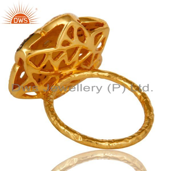 Suppliers 14K Yellow Gold Plated Sterling Silver Cubic Zirconia Flower Cocktail Ring