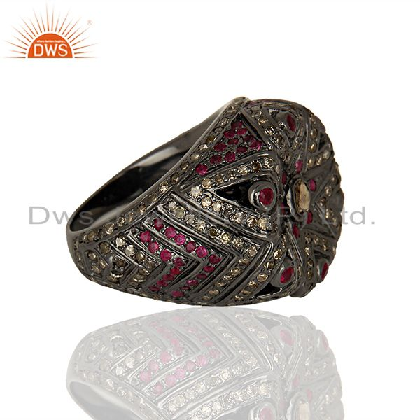 Suppliers 925 Silver Pave Diamond Ruby Gemstone Antique Ring Manufacturer