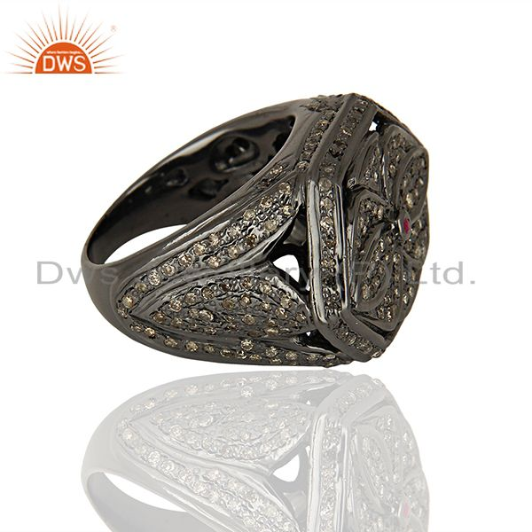 Suppliers Black Rhodium Plated Pavbe Diamond Antique Silver Ring Supplier