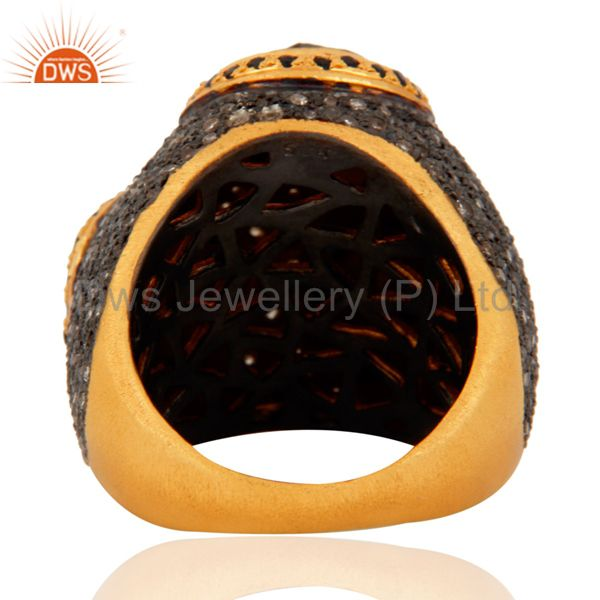 Suppliers Rose Cut Diamond Ring Sapphire Solid Silver Vintage Style Jewelry 22kt Gold