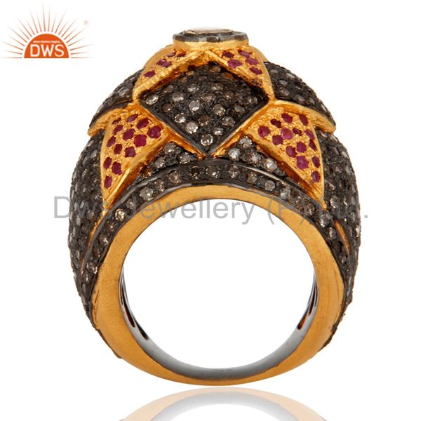 Suppliers Fine 22k Gold Vintage Estate Silver Jewelry Ruby Rings Rosecut Pave Diamond Ring