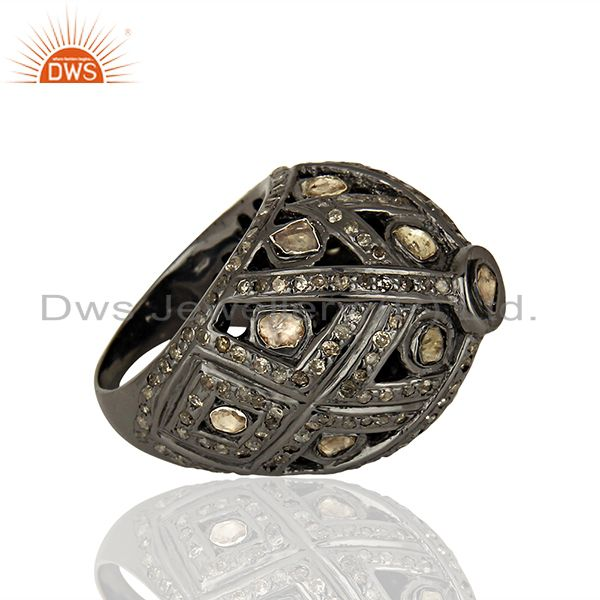 Suppliers Black Rhodium Plated Silver Pave Diamond Ring Manufacturer Jewelry