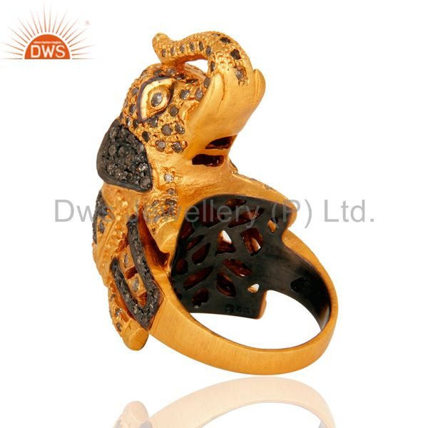 Suppliers 925 Sterling Silver Pave Set Diamond Elephant Design Ring - Gold Plated