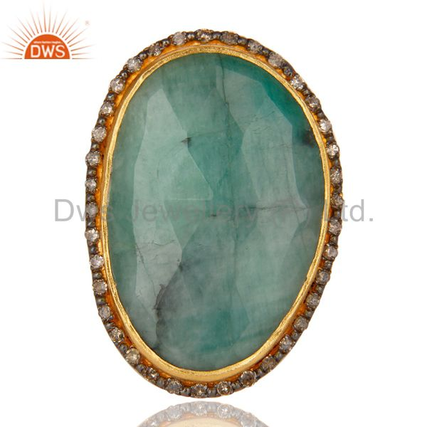 Suppliers Designer Handmade Sterling Silver 22k Gold Plated Natural Emerald Gemstone Ring