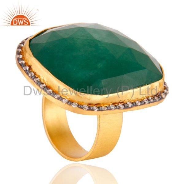 Suppliers 18K Yellow Gold Plated Green Aventurine And CZ Cocktail Fashion Ring