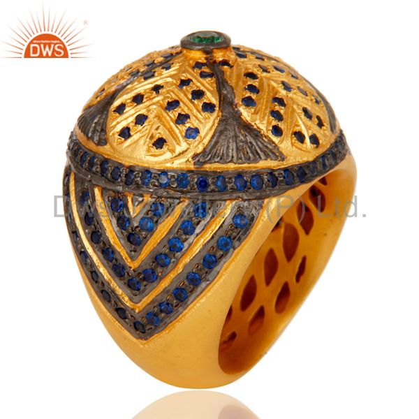 Suppliers 18k Yellow Gold Plated Paveset Cubic Zirconia Designer Fashion Dome Brass Ring
