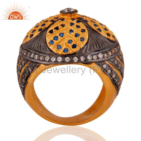 Suppliers 18k Yellow Gold Plated Paveset Cubic Zirconia Designer Fashion Dome Ring Jewelry