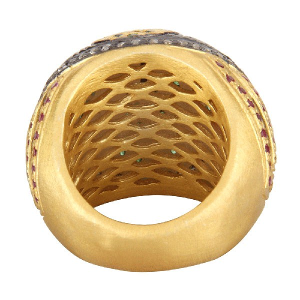 Suppliers 18K Yellow Gold Plated Brass Mix Color Cubic Zirconia Dome Ring