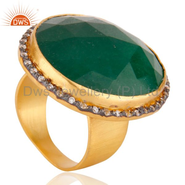 Suppliers Faceted Green Aventurine Gemstone 22K Gold Plated Cocktail Ring With CZ