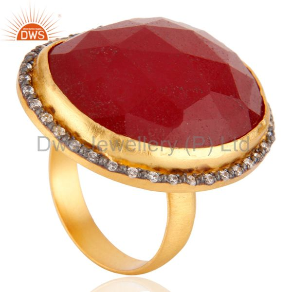 Suppliers Faceted Red Aventurine Gemstone 24K Gold Plated Cocktail Ring With CZ