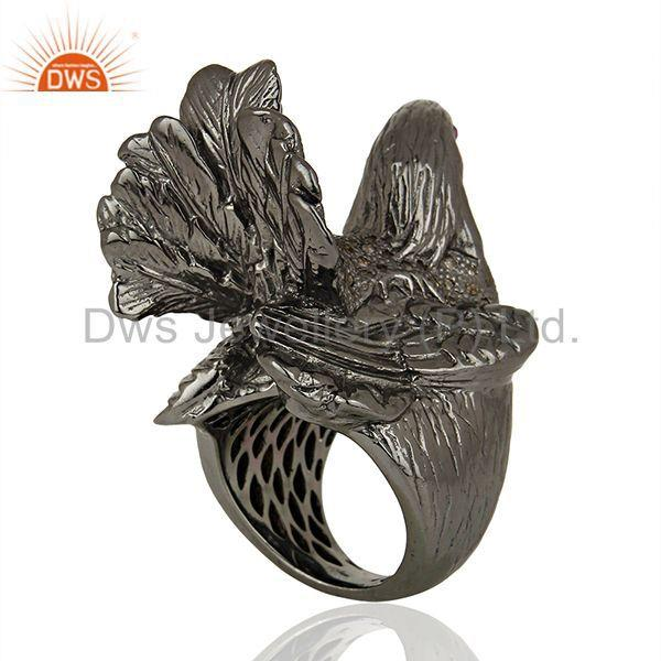 Suppliers Black Rhodium Plated Silver Diamond Wedding Rings Jewelry Supplier